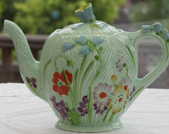 Vintage Teapot, RARE, Beswick, Wayside Teapot, c1939, Collectable Teapot, Hand Painted, Beswick 870, Made in England