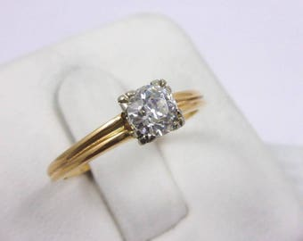 Vintage 14K Yellow Gold 0.50 Carat Solitaire Diamond Engagement Ring Size 6.75