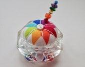 Saltcellar Pincushion - Rainbow Fabric - Hexagon Crystal Leaded Glass