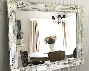 White And Black Distressed Leaning Mirror Shabby Chic Ornate Bathroom