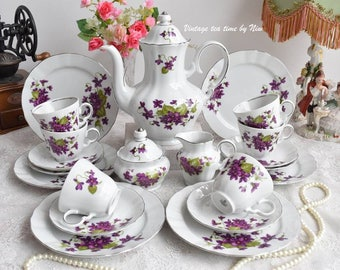 Vintage Tea set floral tea set Winterling Marktleuthen Bavaria Germany tea cup set german porcelain teacup set for six