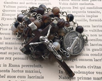 Men's rosary in matte coffee agate, vintage hardwood cross, fold out center
