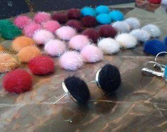 Pompom earrings, stud or lever back pom pom earrings, fuzzy, fluffy pompoms fresh for Spring