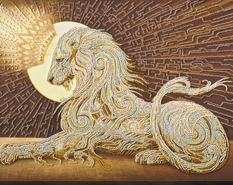 "Bead embroidery kit ""Aslan"", lion, multicolored, beadstitch, beadwork, natural cotton art canvas, picture, Abris Art, needlework, beading"