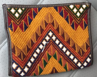 GUATEMALAN BROWN CLUTCH, Hand embroidered huipil and embellished with genuine brown leather