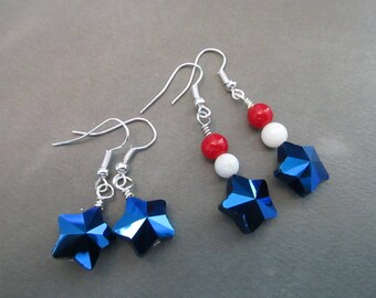 Blue Stars . Red, White and Blue Earrings . USA Jewelry