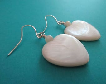 White Mother of Pearl Heart Drops . Earrings