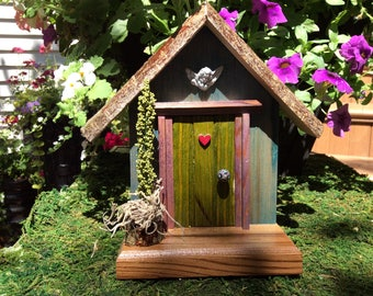 Olive Green Fairy Door with Decorative Angel and Pink Heart