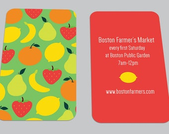 Modern Farmer's Market Printed BUSINESS CARD / Fruit / Food / Calling Card / Custom Contact Card