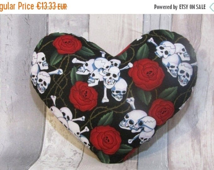 Xmas Skulls and Roses, Heart Cushion, Heart Shaped Cushion, Heart Pillow