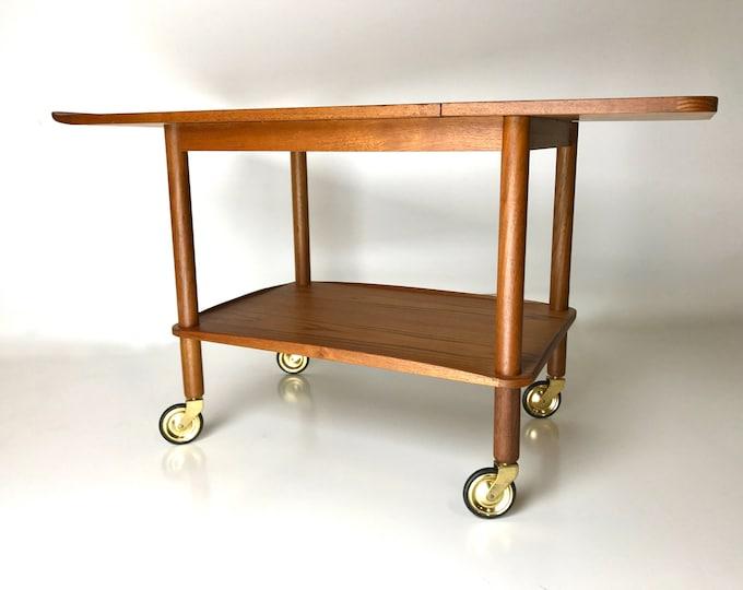 RARE Mid Century Modern Expandable Danish TEAK Rolling Bar Cart Tea Trolley Silkeborg Original Brass Casters Johannes Andersen
