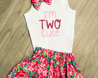 2nd birthday outfit girl//Two cute shirt//Floral birthday outfit//Pink aqua birthday//Two birthday shirt//