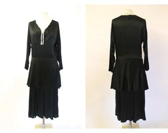 1930's Black Silky Satin two tier bead lace dress