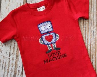 Boys Valentine Robot Applique Shirt