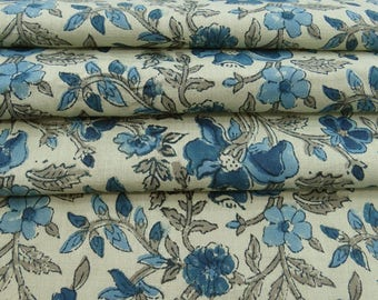 "Dressmaking Fabric, Beige Fabric, Floral Hand Block Print, Upholstery Fabric, 46"" Inch Cotton Fabric By The Yard ZBC8180C"