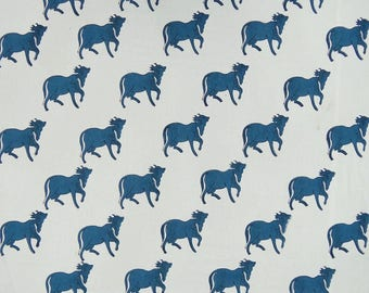 """White Fabric, Hand Block Cow Print, Indian Dress Decor Fabric, Sewing Crafts, 45"""" Inch Cotton Fabric By The Yard ZBC8859B"""