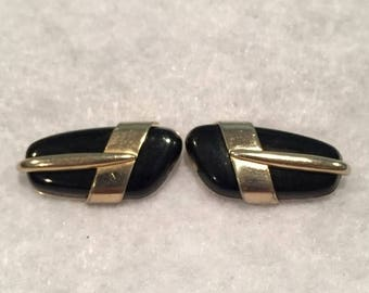 summer17 Swank Gold-tone Cuff Links with Black Stone - CA 1950's - Item #17