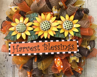 Fall Wreath, Autumn Wreath, Sunflower Wreath, Harvest Wreath, Thanksgiving Wreath, Harvest Blessings Wreath
