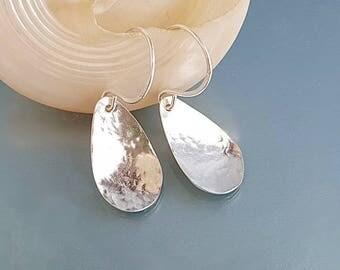 Hammered Silver petal earrings, flower petals jewelry, silver jewellery, dainty teardrop earrings, UK girlfriend gift, birthday anniversary