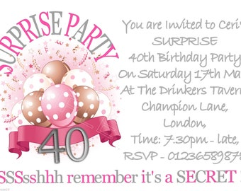 Pretty Balloon Bouquet PERSONALISED surprise Birthday Party Invitations x 10 ANY AGE