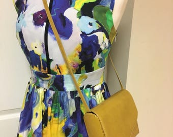 Charles Jourdan VINTAGE Sunshine Yellow Leather French Shoulder Bag Purse 80'S