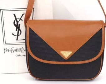 New YSL Yves Saint Laurent Signature 80's Leather Crossbody Shoulder Bag Rare