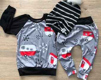 childrens joggers, lumberjack, modern baby, christmas pants, christmas outfit , baby boy, chrismas, camper, camp