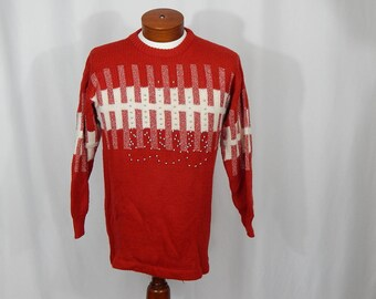 UGLY CHRISTMAS SWEATER Red White with Silver Bells Medium M Vanna White for R & K Originals 90s Nineties