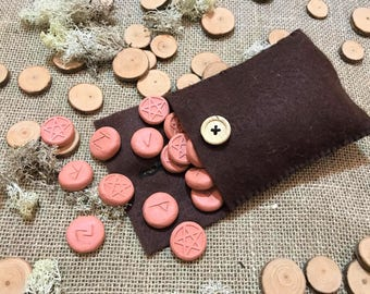 Large Handmade Clay Elder Futhark Runes - with Brown Handsewn Felt Bag