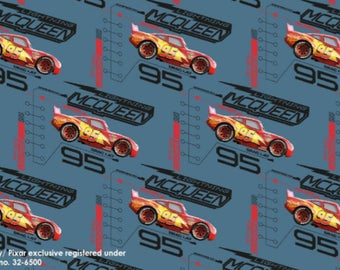 Cars Movie, Lightning McQueen - Blue Grey, Digital Printed Cotton Lycra Jersey Knit Fabric