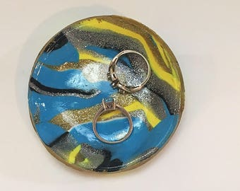 Blue Marbled Ring Dish - Yellow Marbled Ring Dish - Yellow and Blue Ring Dish - Marbled Clay Ring Dish