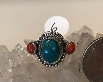 Turquoise and Red Coral  Ring Size 6