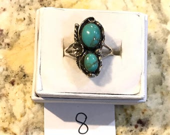 Two Stone Turquoise Stone Ring, Size 8