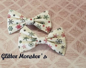 Christmas Bow Tie, Infant-Adult Bow Tie, Snowflake Bow Tie, Christmas Bow Tie, Clip on Bow Tie, Christmas Ring-bearer Tie, Christmas Wedding