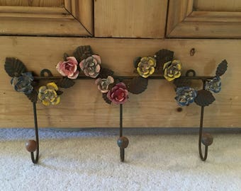 Shabby Chic Metal Wall Coat Rack With Rose Detail
