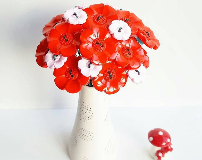Big red and little pink daisy bouquet