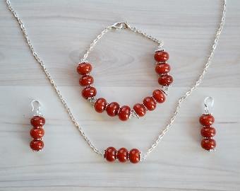 Red agate set, Red agate jewelry set, Red agate chain bracelet, Red agate earrings, Red agate pendant, Jewelry set, Red gemstone jewelry set