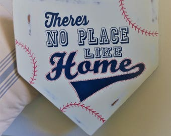 Baseball Door Hanger, Baseball Sign, There's No Place Like Home, Door Hanger, Coach Gift, Home Plate Sign, Team Gift, Sports Sign,