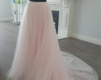 Alice Light Pink Blush Layered Tulle Skirt With Train Wedding Separates Pre-wedding Photos