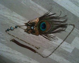 Hedband shabby bronze plume de Paon,cristal Swarovski,pierre de gemme Agate,butterflye/serre tete e plume de Paon, pierre Agate,Cristal