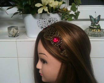 chain Shabby headband bronze,Fuchsia cabochon facet,Agate beads/serretete bronze Shabby en chaine,cabochon facette fuchsia et Agate perles