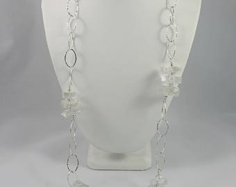 Sterling Crystal Necklace 35 inches - Long