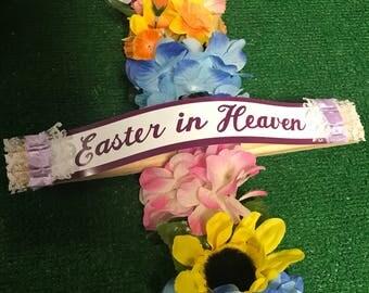 Cemetery cross - cemetery silk cross - wooden cross - cemetery flowers - memorial cross - easter cross