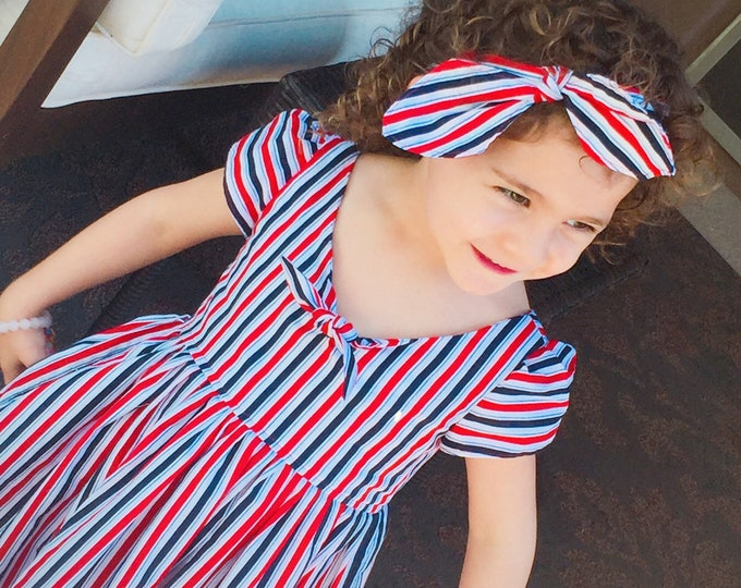 Custom order Charlie Dress and matching hair bow