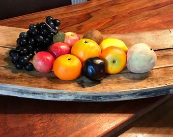 Fruit bowl - bread basket - chunky fruit bowl - whisky barrel - whisky gift - rustic fruit bowl - solid oak bowl