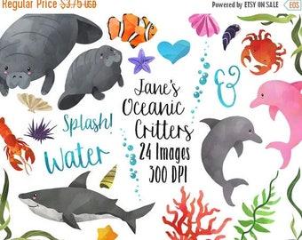 50% OFF Watercolor Ocean Life Clipart - Sea Animals Download - Instant Download - Manatee - shark - dolphin - crabs