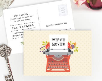 PRINTED Moving announcements | We've moved postcards | 4X6 moving cards with typewriter | Change of address cards cheap