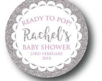 12 Silver/Gold Faux Glitter Baby Shower Stickers