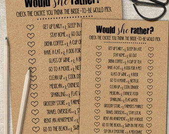 Would She Rather game, Printable Bridal Shower game, rustic shower games, party activities, G101