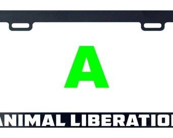Animal liberation license plate frame tag holder